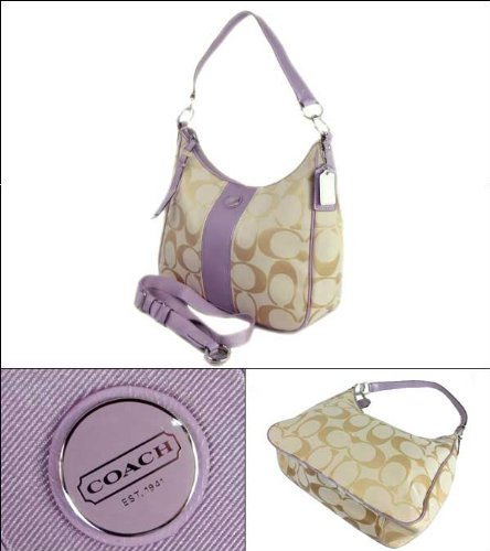 Coach   Coach Signature Stripe Shoulder Hobo 28207 Khaki Lavender