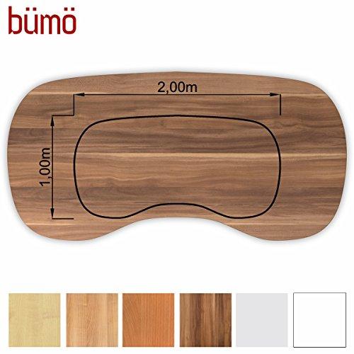 Bm-stabile-Tischplatte-25-cm-stark-DIY-Schreibtischplatte-aus-Holz-Brotischplatte-belastbar-mit-120-kg-Spanholzplatte-in-vielen-Formen-Dekoren-Platte-fr-Bro-Tisch-mehr-Nierenform-200-x-100-cm-Zwetschg