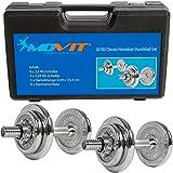 MOVIT® 20 kg Chrom Kurzhantel Set aus GUSSEISEN im Koffer