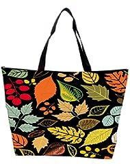 Snoogg Colorful Leaves Black Designer Waterproof Bag Made Of High Strength Nylon