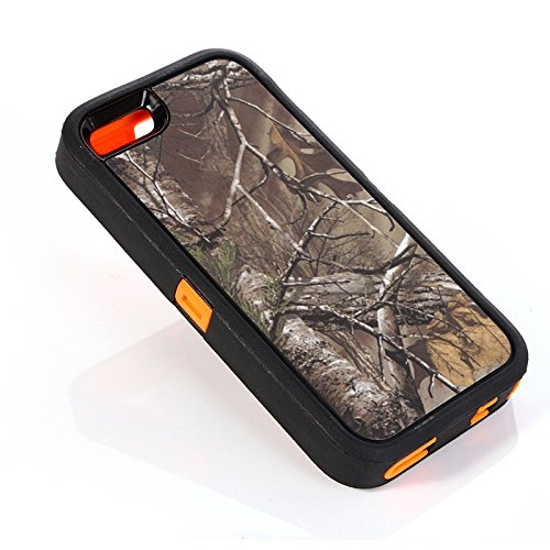 For Iphone 5 Case - Iphone 5s Case - FiversTM Heavy Duty Case 3 in 1 Three Advantages Waterproof Dustproof Shakeproof with Forest Camouflage Desig Cell Phone Cases for Iphone 5 5s Leaf- Orange