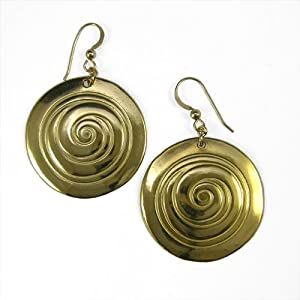 Spiral Peace Bronze Earrings on French Hooks