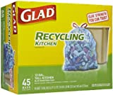 Glad Tall Kitchen Drawstring Recycling Trash Bags, Blue, 45 Count