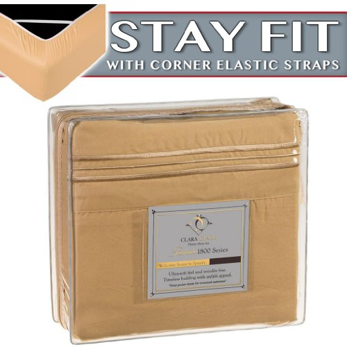 Clara Clark 1800 Series Bed Sheet Sets - Stay Fit On Mattress With Elastic Straps At Corners - King, Camel Gold front-950803