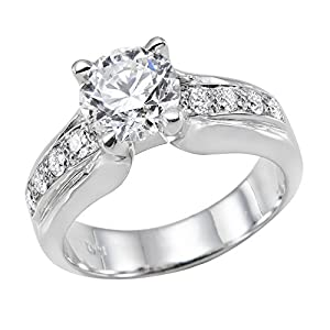 GIA Certified 14k white-gold Round Cut Diamond Engagement Ring (1.13 cttw, J Color, VS1 Clarity)