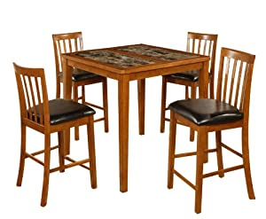 Home Source Industries Pablo Dinette 5-Piece Counter Height Dinette Set with Hardwood Table and 4 Chairs, Oak Finish