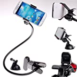 Universal KFZ Auto Gooseneck Halter Windschutzscheibe Halterung Saugfußhalter Clip Halter für Handy Smartphone GPS PDA, 360° drehbar, Apple iPhone 3G 3GS 4 4S and 5 / iPod Touch 2G, 3G, 4G , iphone 4S iPhone 5 HTC Sensation XE XL, HTC 8X 8S, HTC One V and One X, Samsung Galaxy Note, Galaxy S IV, Galaxy S III, Galaxy S4, Galaxy S3, Nexus , Motorola RAZRi usw, Schwarz, KXC5013 Black