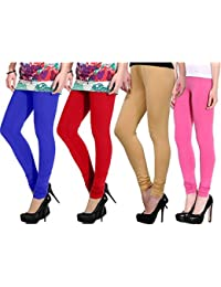 Devaas Women's Blue Red Beige Pink Color Leggings (pack Of 4)