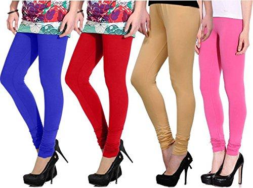 Devaas Women's Blue Red Beige Pink Color Leggings (pack Of 4)