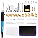 LINGSFIRE Wood Burning Kit, 37PCS Wood Burning Tool Soldering Iron Pen with 28 Pyrography Tips and 5 Soldering Tips, 200~450 ? Temperature Adjustable 60W Wood Burner Set for Wood Leather Craft Carving (Color: Black)