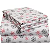 Pointehaven Heavy Weight Printed Flannel Sheet Set, California King, Snow Flakes White