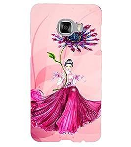 PrintVisa Cute Flower Girl Butterfly Design 3D Hard Polycarbonate Designer Back Case Cover for Samsung C5