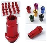 Godspeed 20 Pieces 12x 1.5mm Red Color Extended Aluminum Lug Nut Lugs 12x1.5mm Wheel Nut Nuts Fit ALL KIA , Amanti , Forte , Optima , RIO M Sedona , Sorento , Soul , Spectra