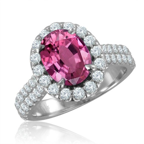 Natural Pink Sapphire Diamond Engagement Ring in 18k White Gold Halo Ring (G, SI1, 3.40 cttw), 9x7mm, Certificate of Authenticity