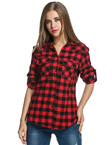 Zeagoo Women's Roll Up Sleeve Casual Loose Boyfriend Plaid Button Down Shirt (Small, Red) (Red Shirts Women compare prices)