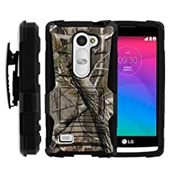 MINITURTLE Two Layer Hybrid Armor Hard Case Built in Kickstand for LG Leon C40, H340N, Tribute 2, Power L22C, Destiny L21G, Sunset L33L Bundle with Screen Protector - Nature's Camouflage