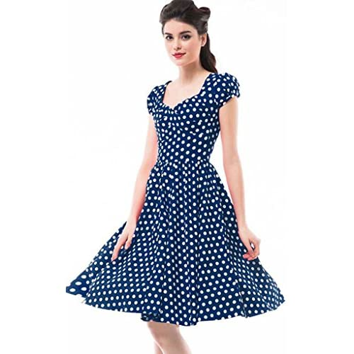 Betty Rose Women's Vintage Style Polka Dot Cap Sleeve Flare Dresses(size 2-18 )