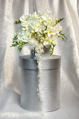 materashop.it - Bouquet per Sposa Fresie Bianco 9 fiori Swarovski, Matrimonio,Gioiello