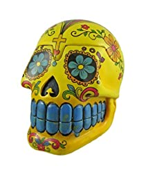 Bright Yellow Day Of The Dead 3D Skull Trinket Box / Ashtray by Fantasy Gifts