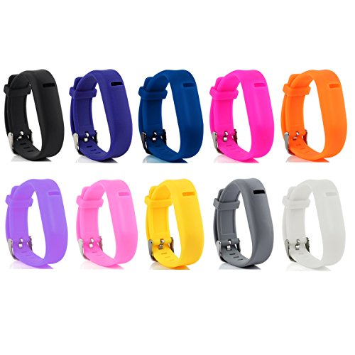 Cute Silicone Replacement Wristband Bracelets/ Wireless Activity and Sleep Tracker Accessory 10-in-1 Bands Pack with Buckle For Fitbit Flex, One Size (Fitbit Flex Unit compare prices)