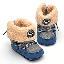 LIVEBOX Baby Premium Soft Sole Bow Anti-Slip Mid Calf Warm Winter Infant Prewalker Toddler Snow Boots (M: 6~12 months, Navy Blue)