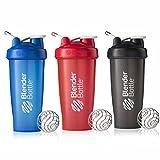 BlenderBottle 28oz Classic Loop Top Shaker Bottle 3-Pack, Full Color Blue/Black/Red (Color: Blue, Black, Red, Tamaño: 28 oz)
