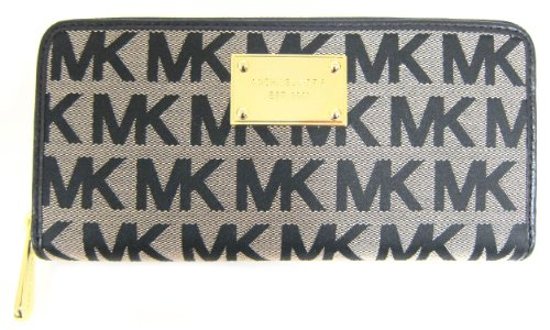 Michael Kors Zip Around Continental Mk Jacquard Wallet Beige Black