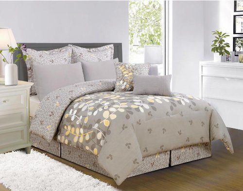 8 Pieces Eliana Yellow Grey White Comforter Bed-In-A-Bag Set King Size Bedding+Accent Pillows front-693782