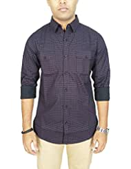 AA' Southbay Men's Black Wine 100% Cotton Printed Long Sleeve Casual Shirt With 2 Flap Pockets