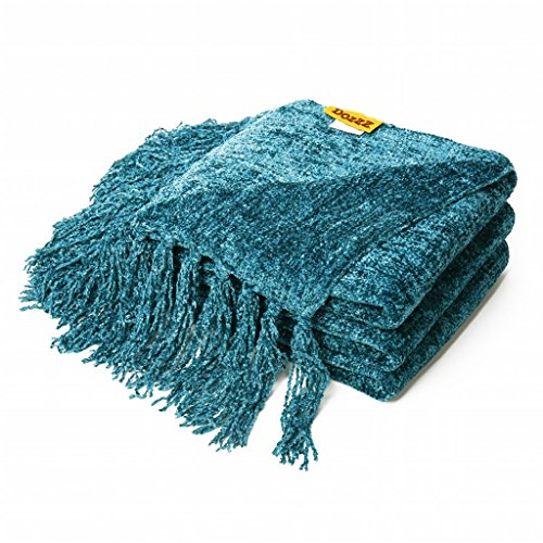 Great Features Of DOZZZ Decorative Throw Sofa / Couch Chenille Throw Blanket 60 X 50 Inches, Teal