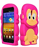 Bastex Silicone Character Case for Sprint Samsung Galaxy S2, Epic 4G Touch D710 - Hot Pink & Brown Monkey
