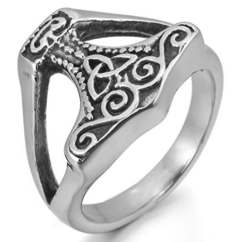 Men'S Stainless Steel Ring Silver Black Thors Hammer Irish Celtic Knot Triquetra Vintage Size12