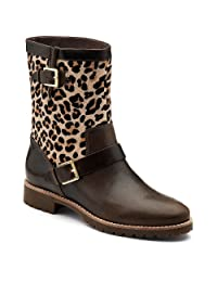 pictures of Sperry Top-Sider Women's Britt,Dark Brown Leather/Leopard Pony/Studded,US 7 M