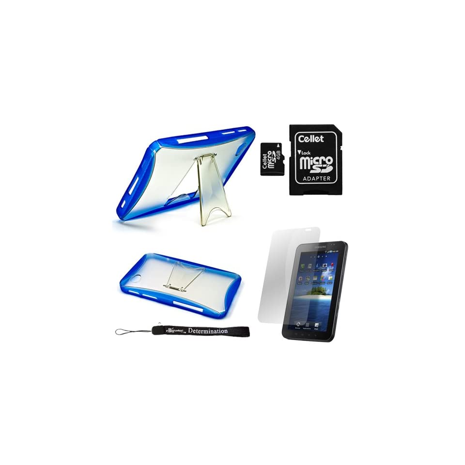 Blue Cradle Kickstand Protective High Quality Stand Alone Hard Shell TPU Skin Cover Case for Samsung Galaxy Tab Tablet + Includes a Durable Screen Protector + Includes a 4 GB Capacity MicroSD Memory Card with SD Adapter