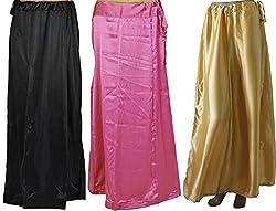 Odishabazaar Women Saree Petticoat Satin Silk Underskirt Lining for Sari(pack of 3)