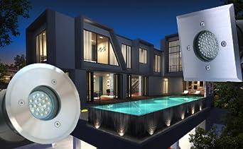Aqua Square LED Feuchtraum IP65 Bad Badezimmerstrahler NUR 6cm EiNBAUTIEFE 5 Watt Power LED Leuchtmittel DIMMBAR in kaltweiss inklusive 230V Duschbereich