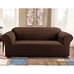 Sure Fit Simple Stretch Subway 1-Piece - Sofa Slipcover  - Chocolate (SF44262)