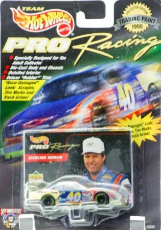 1998 - Mattel - Hot Wheels - Pro Racing - Trading Paint Edition - Sterling Marlin - #40 Team Sabco - Monte Carlo - Upper Deck Card - Race Damage Look - New - Limited Edition - Collectible