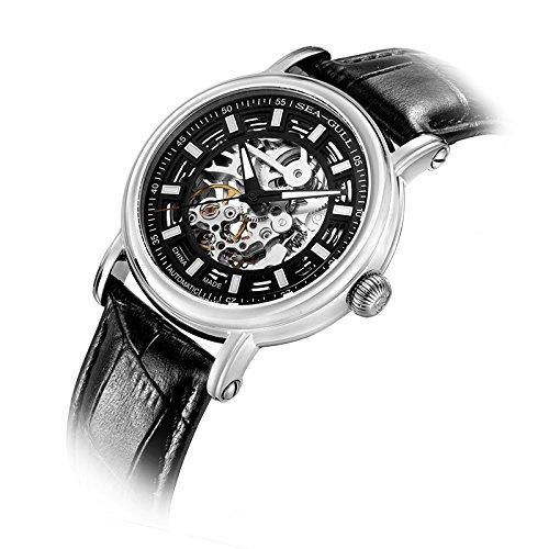sea-gull gabbiano orologio 819.338K uomini moda automatico in acciaio meccanico impermeabile zaffiro sintetico cinturino in pelle di cristallo