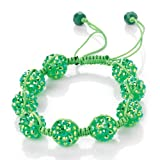 Minerva Collection Disco Ball Bead Shamballa Fashion Bracelet Lime Green