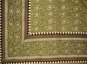 Block Print Primitive Paisley Tapestry-Spread-Green-Queen