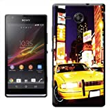 Yellow Taxi Cab in New York Times Square USA Hard Case Clip On Back Cover For Sony Xperia SP