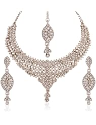 I Jewels Traditional Rhodium Plated Elegantly Handcrafted Stone Necklace Set With Maang Tikka & Earrings For Women...