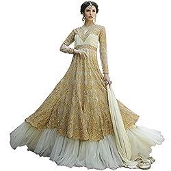 Vasu Saree Beige Net Gracious Anarkali Salwar Suit