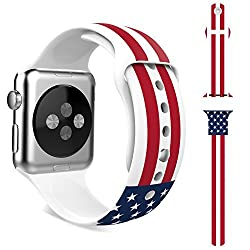 Apple Watch Band, MoKo Soft Silicone Replacement Sport Band for 42mm Apple Watch Models, American Flag (Will Not Fit Apple Watch 38mm Version 2015)