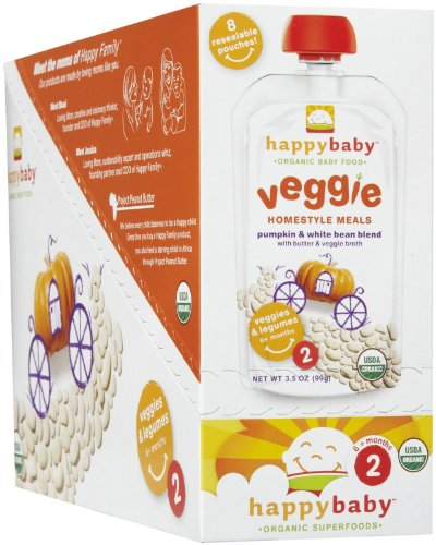HappyBaby - Organic Baby Food Stage 2 Veggie Homestyle Meals Ages 6+ Months Pumpkin & White Bean Blend - 3.5 oz.