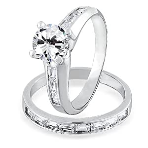 Bling Jewelry Sterling Silver 1.5-ct CZ Baguette Channel Set Engagement Wedding Ring Set - Size 7