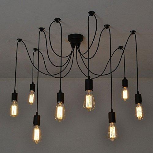 EchoAcc® Vintage da soffitto,E27, Lampadario moderno di colore nero, chic e elegante con 8 luci sospese, ideale: per loft, sala da pranzo, camera da letto, salone, hotel