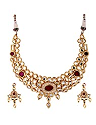TKD Jewellers White And Red Color Traditional Wear Gold Plated Kundan Chain For Women (TKDJ009)