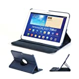 GMYLE(R) Folio Case 360 for Samsung Galaxy Tab 3 10.1 P5200 - Navy Blue PU Leather 360 Degrees Rotating Swivel Folio Flip Case Cover with Multi-angle Stand Function and hand strap